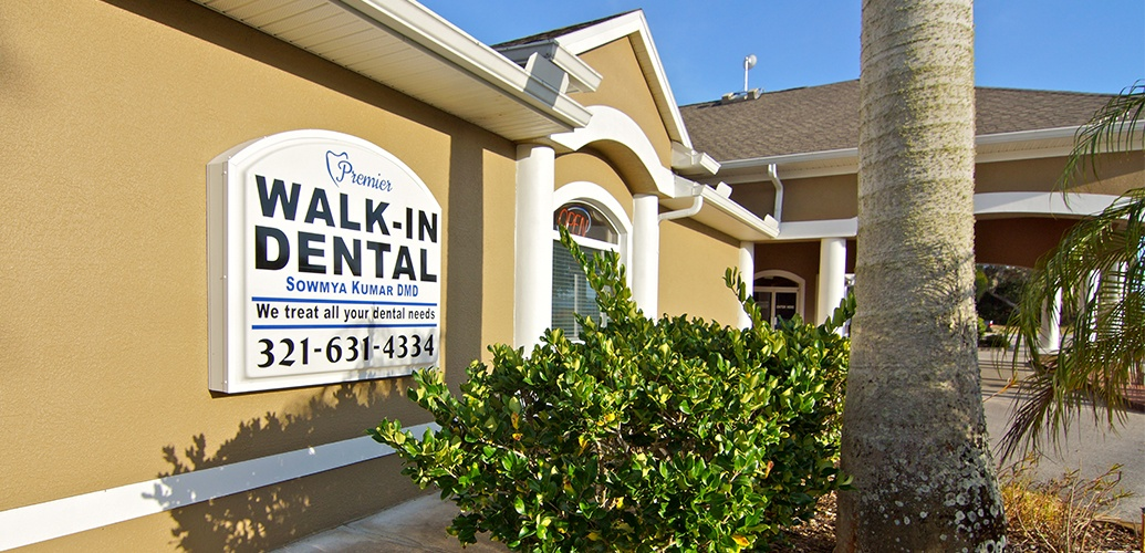 Premier Walk-In Dental exterior sign