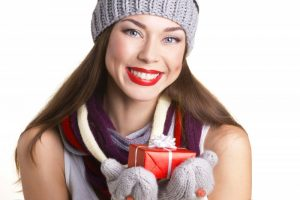 woman smiling present happy